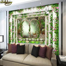 beibehang Roman column rose gardens Custom photo wallpapers art wall paper restaurant retro sofa backdrop 3d wallpaper 3d mural(China)