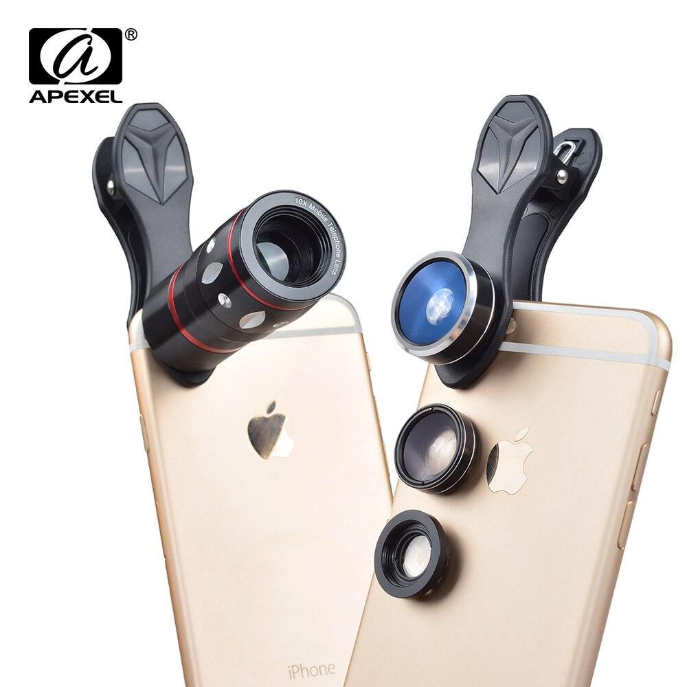 imágenes para APEXEL 10X Zoom Telefoto Lente ojo de Pez Lente Gran Angular Macro Lentes de Cámara Del Teléfono trípode Para el iphone 6 S 7 plus de Samsung Xiaomi