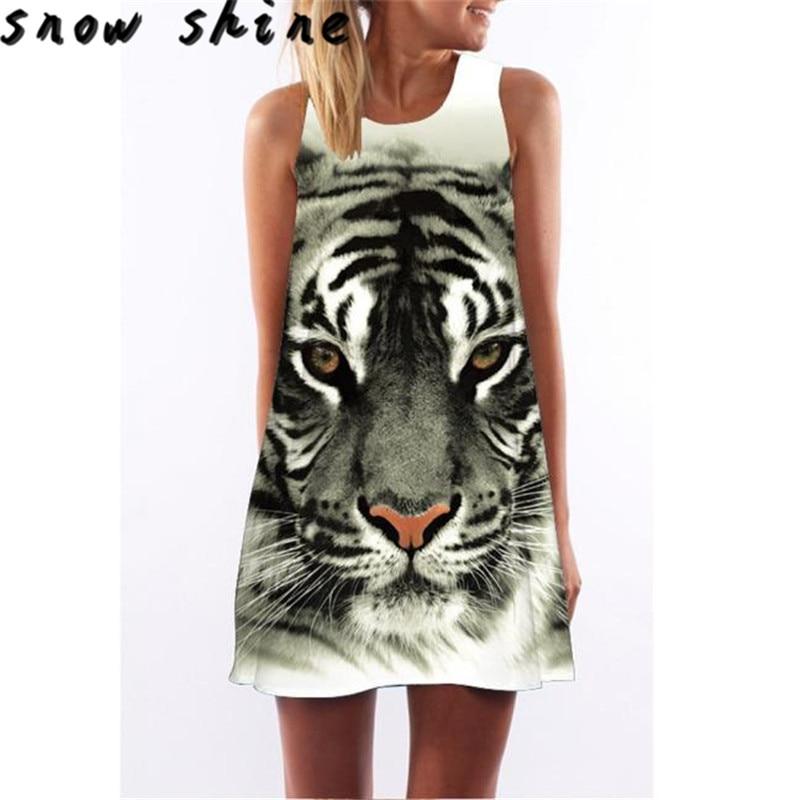 snowshine YLI Fashion Tiger Pattern Printed Sleeveless Dress free shipping