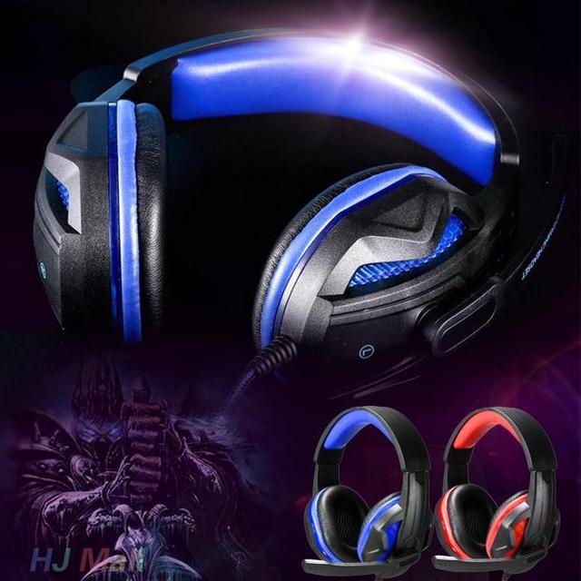 Chegada nova USB 3.5mm LED Wired Over-Ear Super Bass Gaming Headphone w/MICROFONE Para PC Gamer profissional Fone de Ouvido fone de Ouvido de Presente
