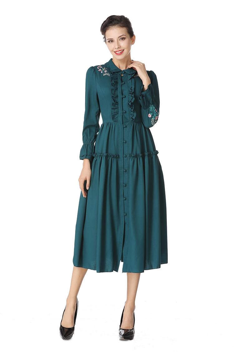 Femmes broderie Floral Bintgae robe de soirée 2018 automne Designer unique boutonnage manches longues évasées élégant mince robe mi-longue - 2