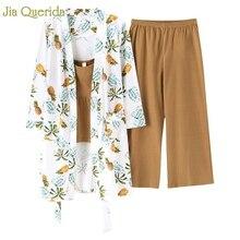 Ev giyim pamuklu pijama japon tarzı kadın baskı pijama Kawaii pijama seti 3 adet çiçek baskı elbise + geniş bacak pantolon Pjs