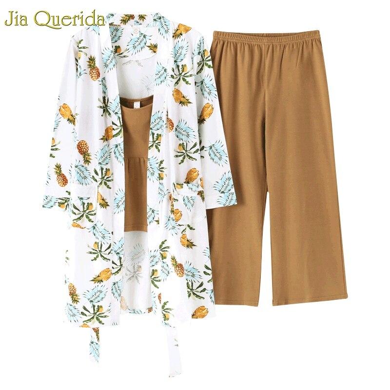 Home Wear Cotton   Pajamas   Japanese Style Women Printing   Pajamas   Kawaii   Pajama     Set   3 Pieces Floral Printing Robe+wide Leg Pant Pjs