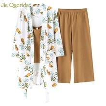 Ropa Para el hogar pijamas de algodón estilo japonés mujer Pijama estampado Kawaii Conjunto de pijama 3 piezas estampado Floral bata + pantalón de pierna ancha Pjs