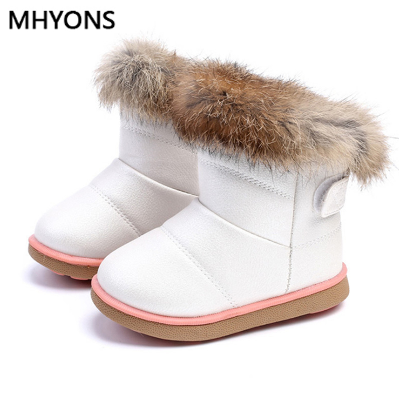 Winter Fashion child girls snow boots shoes warm plush soft bottom baby girls boots comfy kids leather winter snow boot for baby|Boots| |  - title=