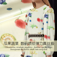 Fruits and vegetables printing stretch silk satin fabric breathable clothing dress fabric satin natural silk fabric