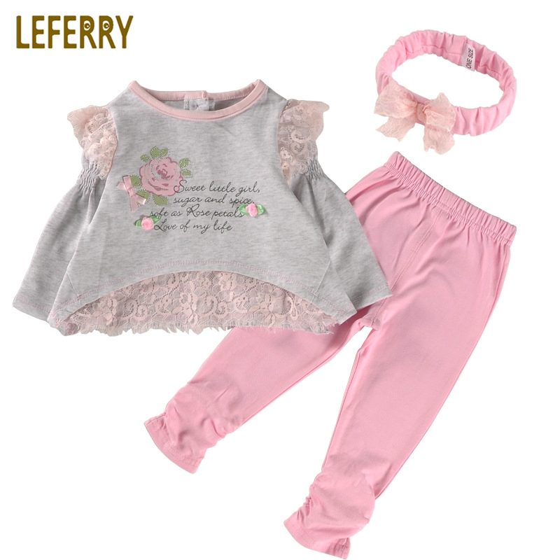 купить 2018 New Spring Long Sleeve Baby Girl Clothes Set Cotton Lace Baby Girl Clothing Sets High Quality Newborn Infant Clothing онлайн