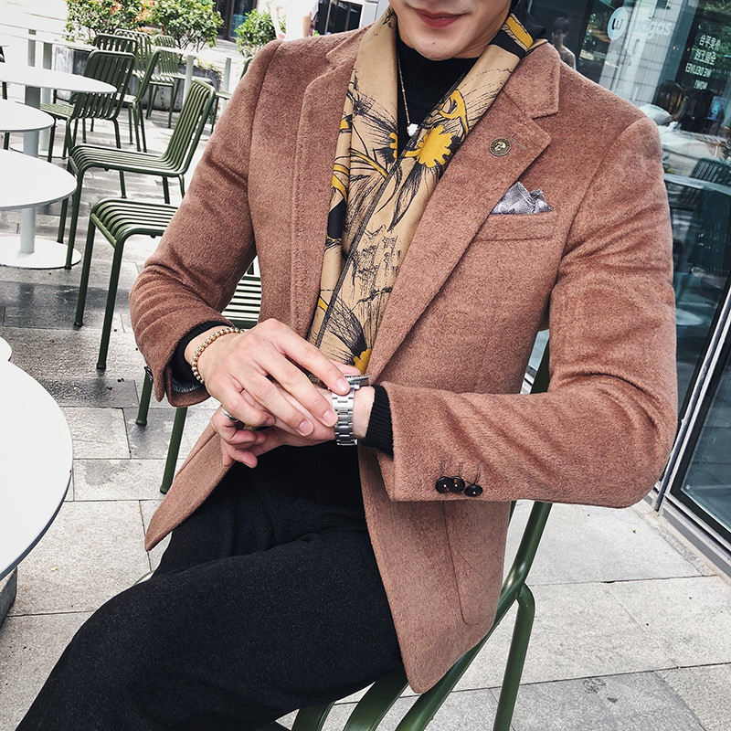 Wool Blazer Coat For Men 2018 Autumn Winter Luxury 5 Colors Wind Red Coffee Smoking Blazer Men Black Slim Fit Terno Masculino