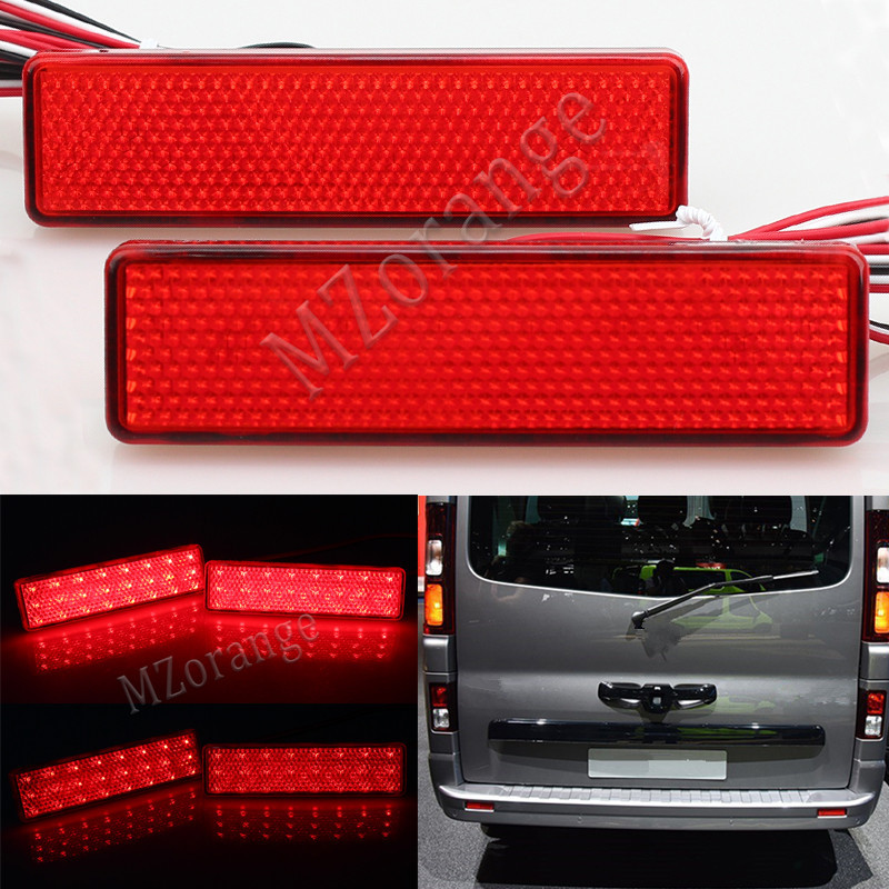 For Renault Trafic Master Nissan Primastar Opel Vauxhall Vivaro Movano A Car Red Lens OEM Led Rear Bumper Reflector Light