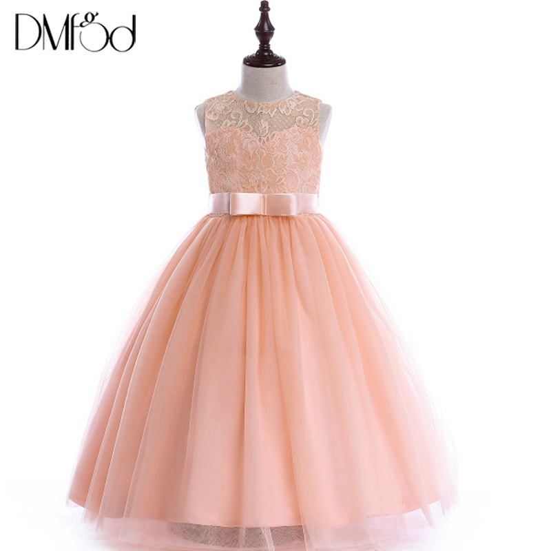 New Girls Party Dress 2018 Elegant Long Lace Evening Dress For Wedding Kids Formal Dresses Teenage Girls Flower Dress 6-16Y 8548 girls long formal dress 2017 flower girls princess dresses kids lace vintage evening party ball gown children s wedding dress