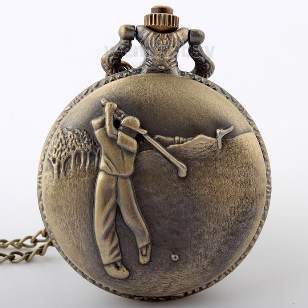 New Vintage Retro Bronze Golf Men Pocket Watch Necklace Pendant Chain Quartz Pocket Watch Boy Unisex Gifts