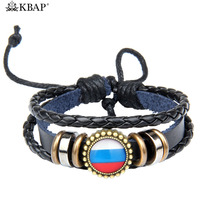 2018 World Cup Charm Bracelet Germany Brazil Russia National Flag Leather Bracelet Bangle Wristband World Cup Favor Gifts