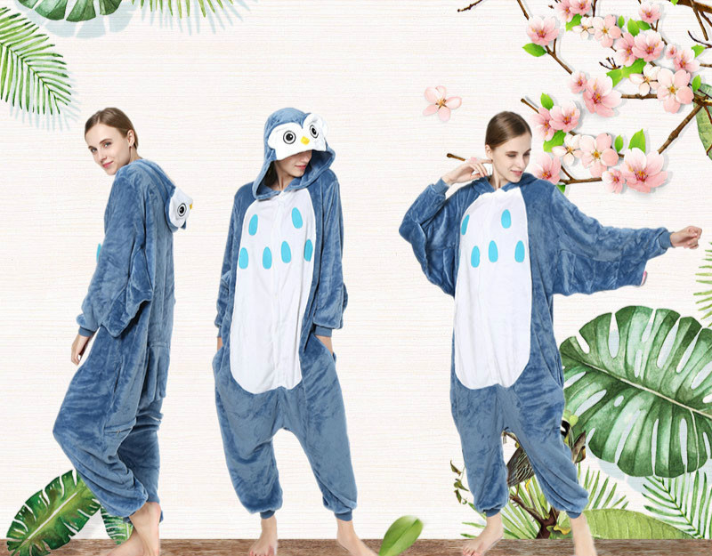 Flannel home clothes owl cartoon animal one-piece pajamas men and women costumes