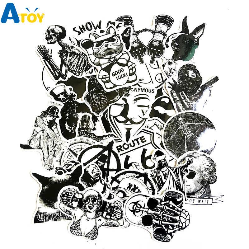 50 Sheets Black White Skull Horror Graffiti Sticker Cool Diy