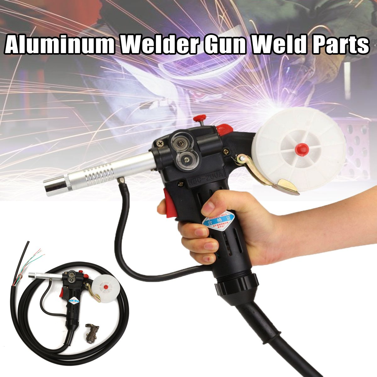 New NBC-200A Spool-Gun Gas Push Pull Aluminum Shielded Line-Drawing Welding Torch + 3meter Lead Cable spool gun gas shielded welding gun lead push pull aluminum torch with cable for high altitude operation