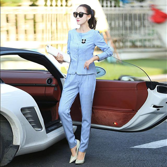 Pant ternos novo 2016 moda outono mulheres calça Casual dos ternos xadrez Stripe padrão fino mulheres define venda quente Formal de trabalho Twinset