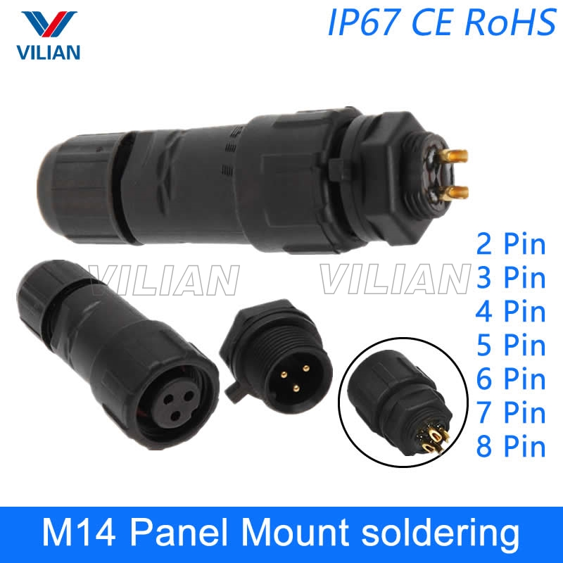 M20 Connector 2Pin 20A Waterproof IP67 Panel Mount Wire Cylindrical Power Solder