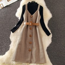 2019 Spring Winter Elegant Women Dress Suit Knitting Wool Long Sleeve Slim Formal Party Office Lady Work