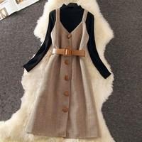 2019 Spring Winter Elegant Women Dress Suit Knitting Wool Long Sleeve Slim Dress Formal Party Office Lady Work Dress