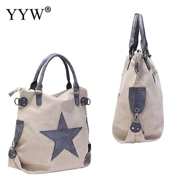 8a57a20a49 Brand Vintage Female Shoulder Bag Khaki Canvas Women Handbags Star Pattern  Green Bucket Bag Casual Tote Bags Women Shopping Bag