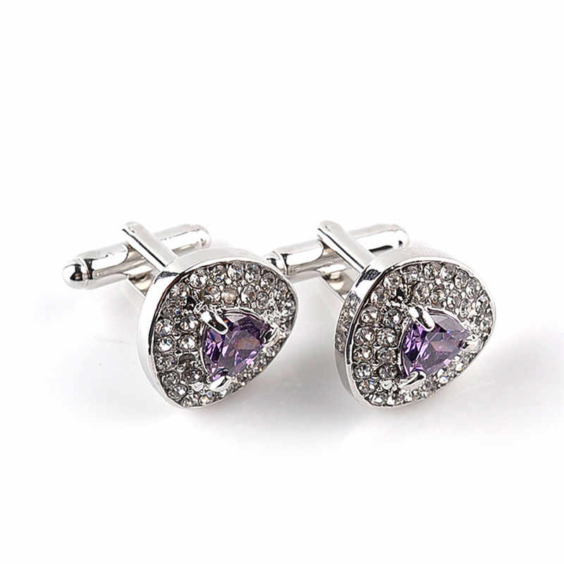 Gemelos de lujo ROMAD para hombres y mujeres de circón completo negro púrpura BLANCO CRISTAL DE MODA marca de la marca de puño de alta calidad R4