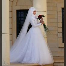 Charming Muslim Long Sleeves 2017 Applique Beading Arabic Women Hijab Bridal Gowns Wedding Dresses
