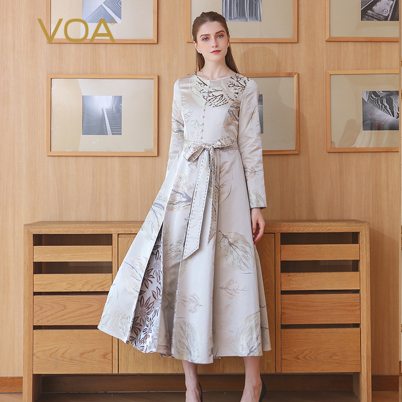 VOA Autumn Winter Plus Size Vintage Silk Jacquard Pearl Clasp High Waist Lacing Dress Grey Print Slim Women Maxi Long Dress A119