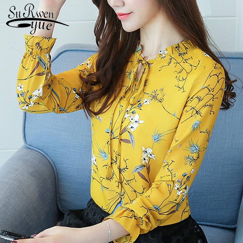 2019 Plus size floral chiffon   shirt   Women Tops   Blouses     Shirts   Ladies Print Feminine   Blouse   Long Sleeve Blusas Femme 900 30