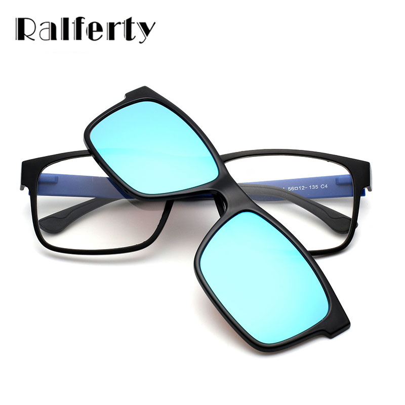 Ralferty Ultra Light Magnet Clip On Sunglasses Polarized Men Women Square Eyeglasses Myopia Optic Frames Night Vision Clip 1641