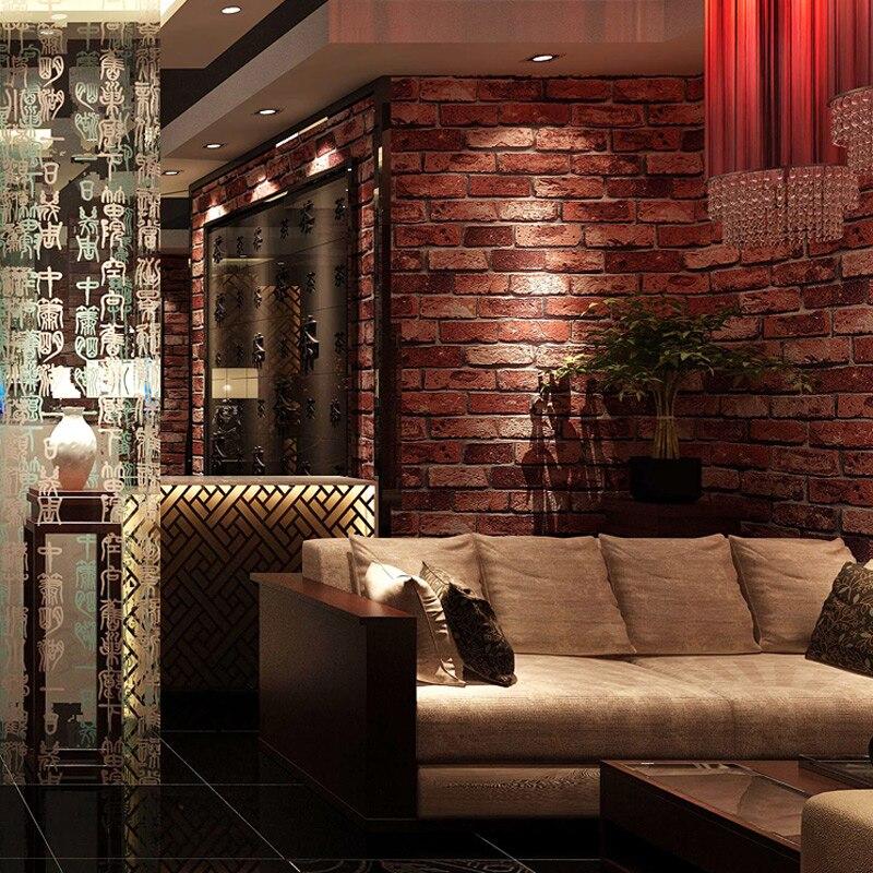 Us 28 0 Verkauf Ziegelstein Tapete 3d Chinesischen Rustikale Vintage Pvc Gepragten Backsteintapete Rollen Wohnzimmer Schlafzimmer Hintergrund