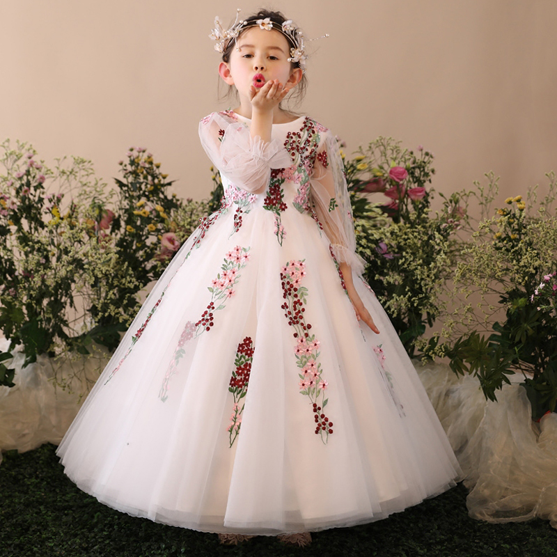 цены White Princess Girls Dresses Ball Gown Floor Length Mesh Tulle Kids Pageant Dress for Wedding Flower Girl Dress Party Prom D151