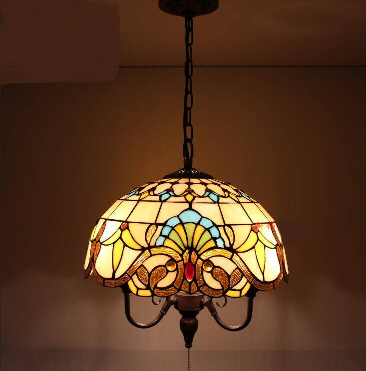 Tiffany colorful pendant lights glass dining room lamp Baroque bar lamp cafe store creative pull switch pendant lamp ZA tiffany the restaurant in front of the hotel pendant lights cafe bar small aisle entrance hall creative pendant lamp za df7 lo10