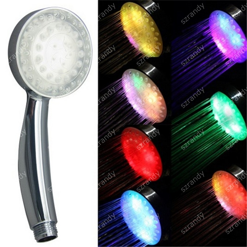 Drop shipping Multicolor fast flashing Hydropower Handheld Water-saving LED Shower Head Round without package 8008-A25