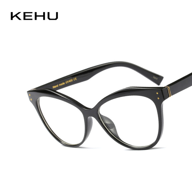 7c6d171b4f KEHU señora ojo de gato gafas estilo Retro Simple lentes circulares  transparentes arte ventilador gafas marco