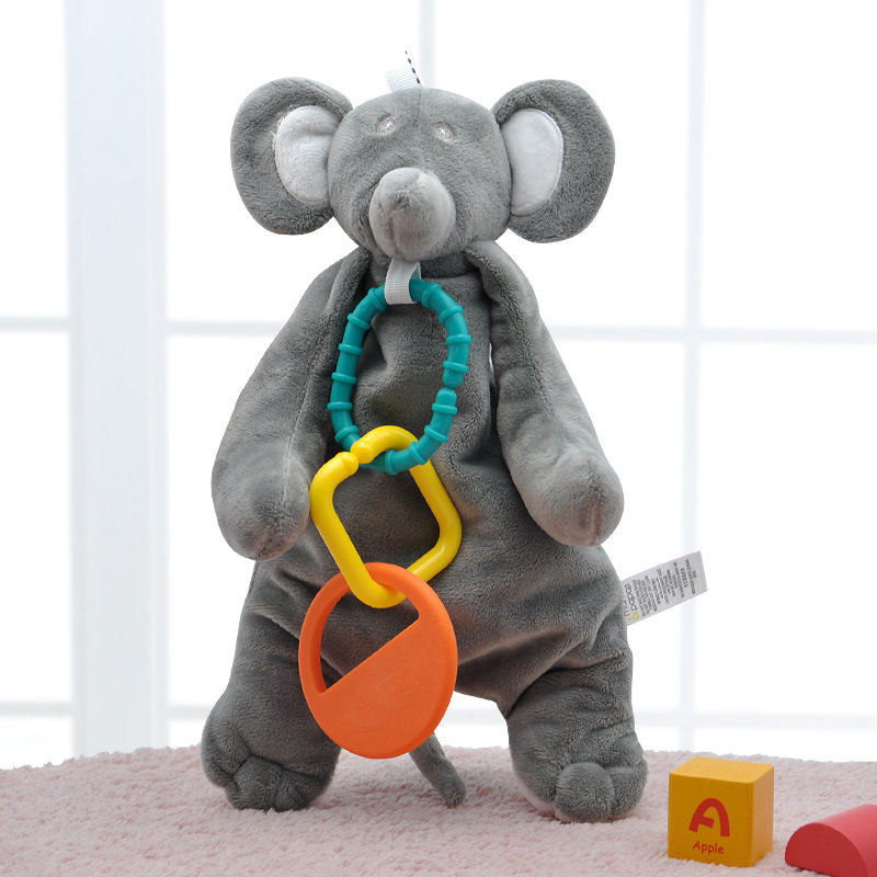 Baby Toys 0 12 Months Teether Elephant Soother Security Blanket Plush Stuffed Animal Toys For Newborn Baby Brinquedos Para Bebe