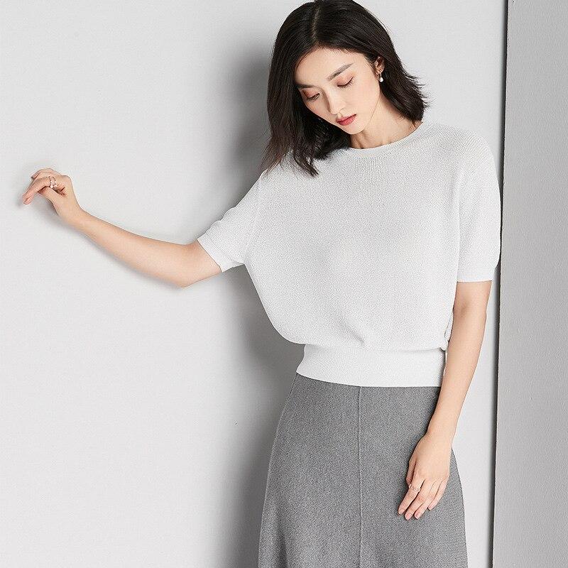Women short sleeve knitting woman top for spring&summer RAYON materials women blause