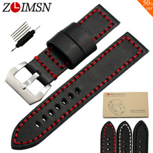 ZLIMSN Sport Thick Genuine Leather Watch Bands Replacement 20 22 24mm Wristwatch Belts Silver Brushed Stainless Steel Buckle