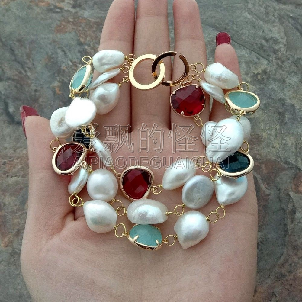 B050116  8.5'' 3 Rows White Baroque Pearl Coin Pearl Crystal Bracelet
