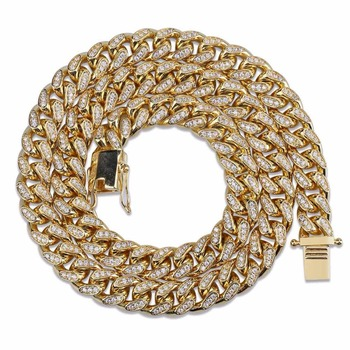 """10mm Miami Curb Cuban Chain Necklace Gold Silver Color Men's Hip Hop Iced Out Paved Rhinestone CZ Rapper Necklace Jewelry 18""""22"""""""
