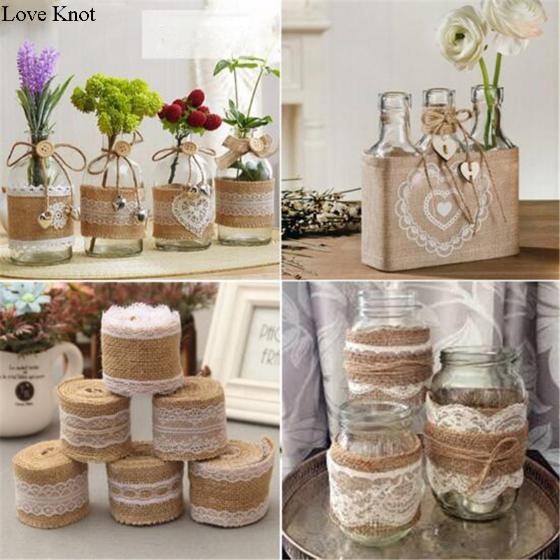 2Meter/Pcs Width 5cm Jute Burlap Rolls Hessian Ribbon With Lace Vintage Rustic Wedding Decoration Ornament Burlap Wedding Favor