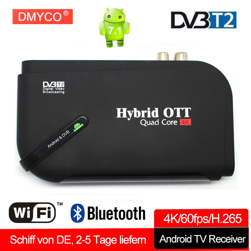 Android tv box 7.1 DVB T2 Amlogic S905D 4K 1G 8G Quad Core 4K 2.4G Wifi Smart TV Box Support Netflix youtube DVB T2 Media Player