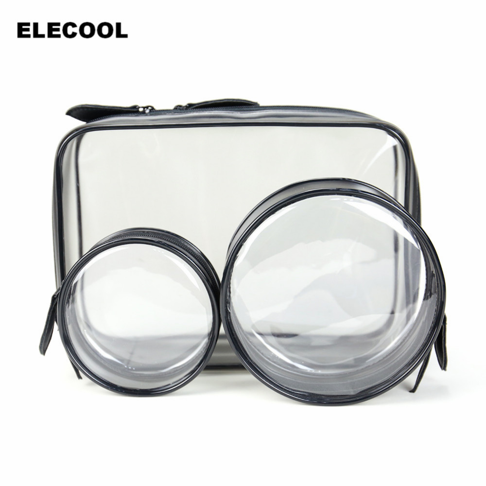 ELECOOL 1pc Clear Cosmetic Toiletry PVC Travel Portable Waterproof Organizer Make Up Bag Wash Storage Pouch Transparent Bag