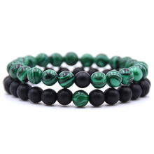 DIEZI Bohemia 2pcs/set Black Green Bracelets for Lovers Couple Natural Beads Charm Stone Bracelets for Women Men Jewellery Gift(China)
