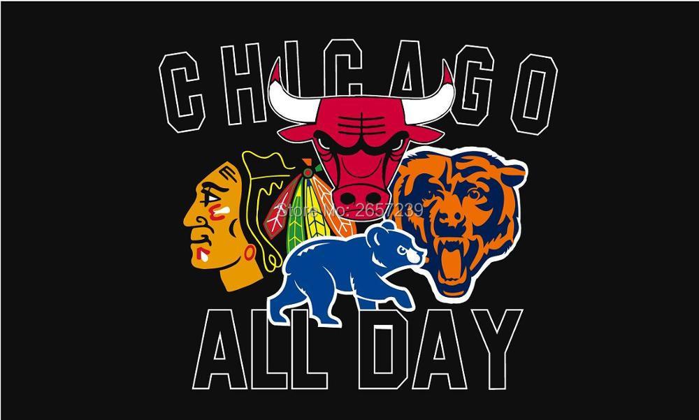 All day chicago blackhawks bulls cubs logo flag 150x90cm 3x5 ft all day chicago blackhawks bulls cubs logo flag 3x5ft banner 100d 150x90cm polyester brass grommets custom66 voltagebd Gallery