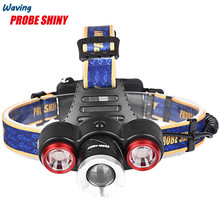 1PC Flashlight Bicycle Bike Front Head Light Headlamp 8000Lm XML T6+2R5 3 LED Head Light Torch+Car/USB Charger+2X18650 Jan 12