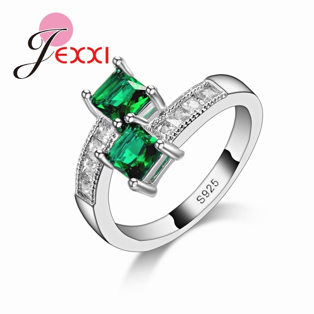 JEXXI Elegant Geometric Party Rings Green Cubic Zirconia 925 Sterling Silver Wed
