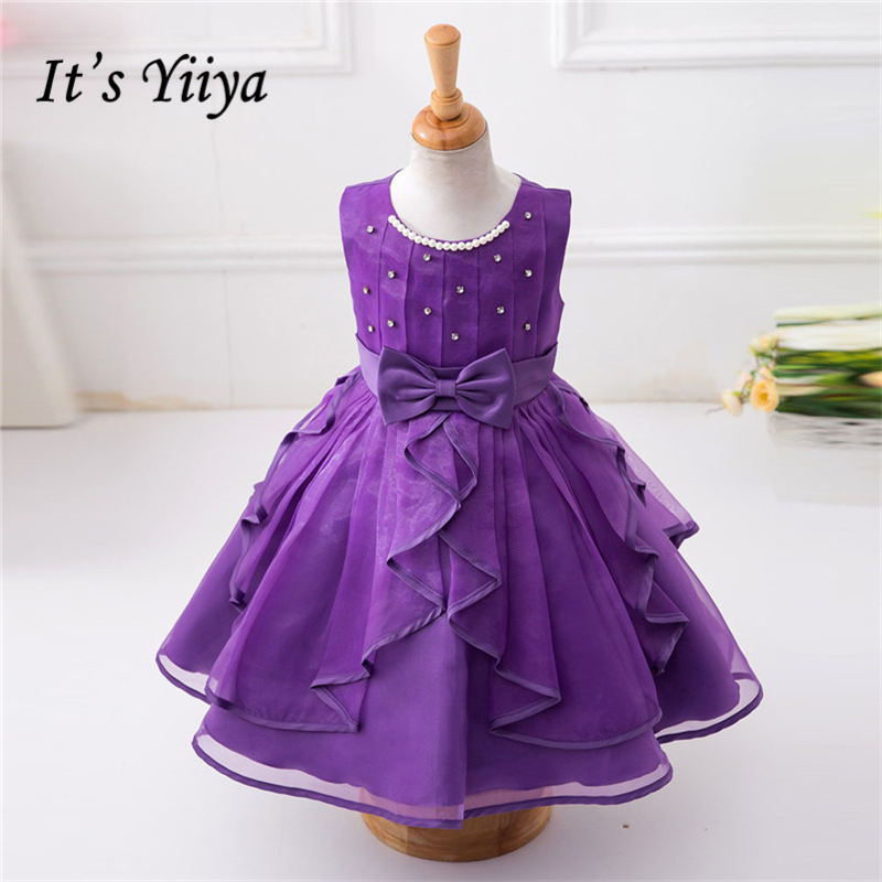 It's yiiya New 3 Colors   Flower     Girl     Dresses   Beading Princess Ball Grown O-neck Sleeveless   Girls     Dress   L0699