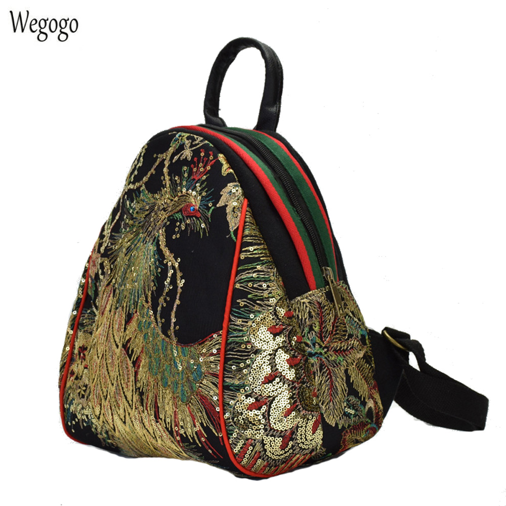 National Women's Embroidery Backpack Sequin Peacock Embroidered Canvas Shoulder Bag Girls Cute Mini Travel Beach School Rucksack sequin embroidered zip up jacket