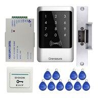 Toda venda de Metal À Prova D' Água Leitor RFID Teclado Sistema de Controle de Acesso de Entrada + Greve Elétrica Lock + 10 RFID Cartões de LIVRE GRÁTIS