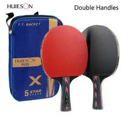 2 pcs Atualizado 5 Estrela Conjunto Raquete de Tênis de Mesa de Carbono Leve Poderoso Ping Pong Paddle Bat